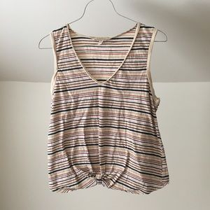 ANTHRO BORDEAUX Rainbow Striped Knotted Tank Top